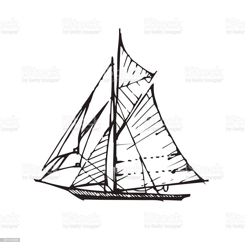 Vector handdrawn black sail boat. vector art illustration