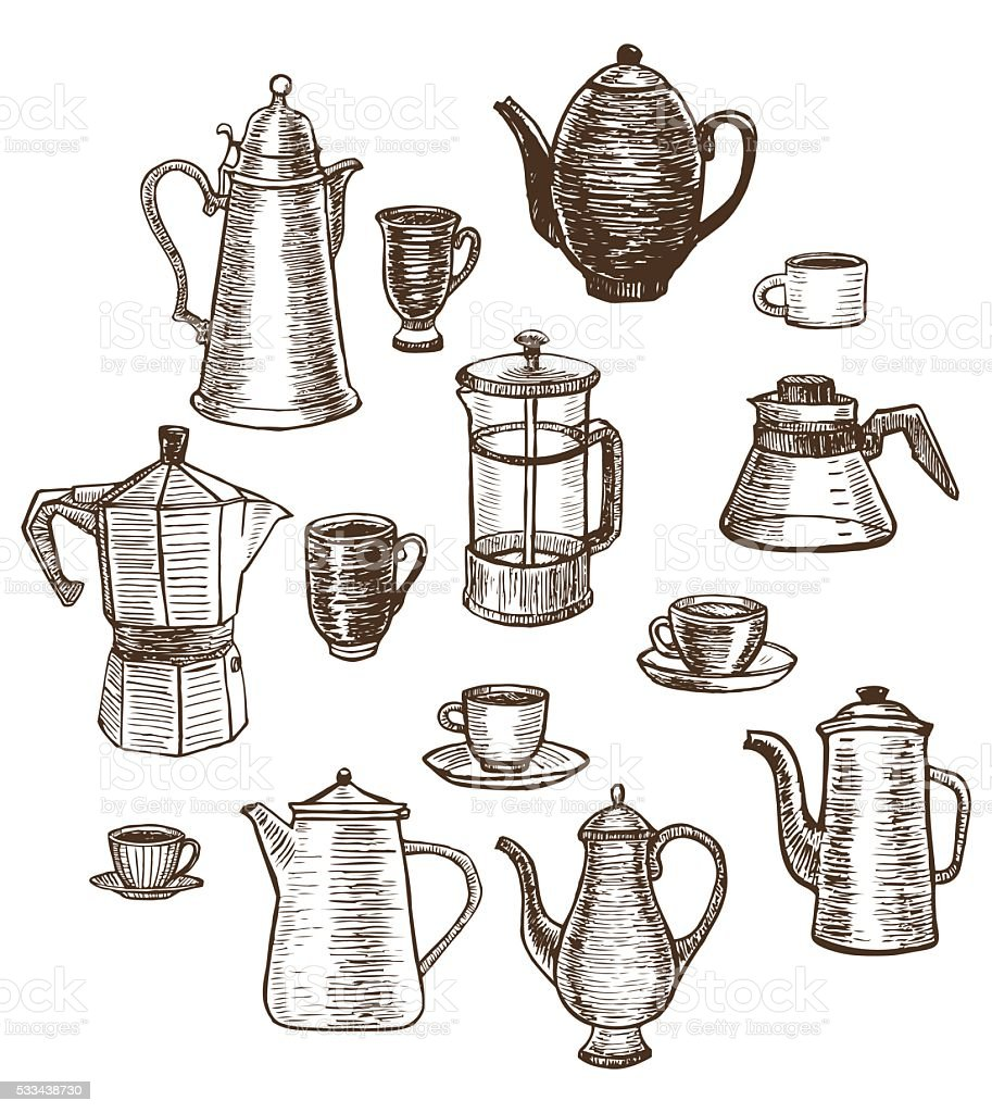 vector hand-drawn coffee utensils set vector art illustration
