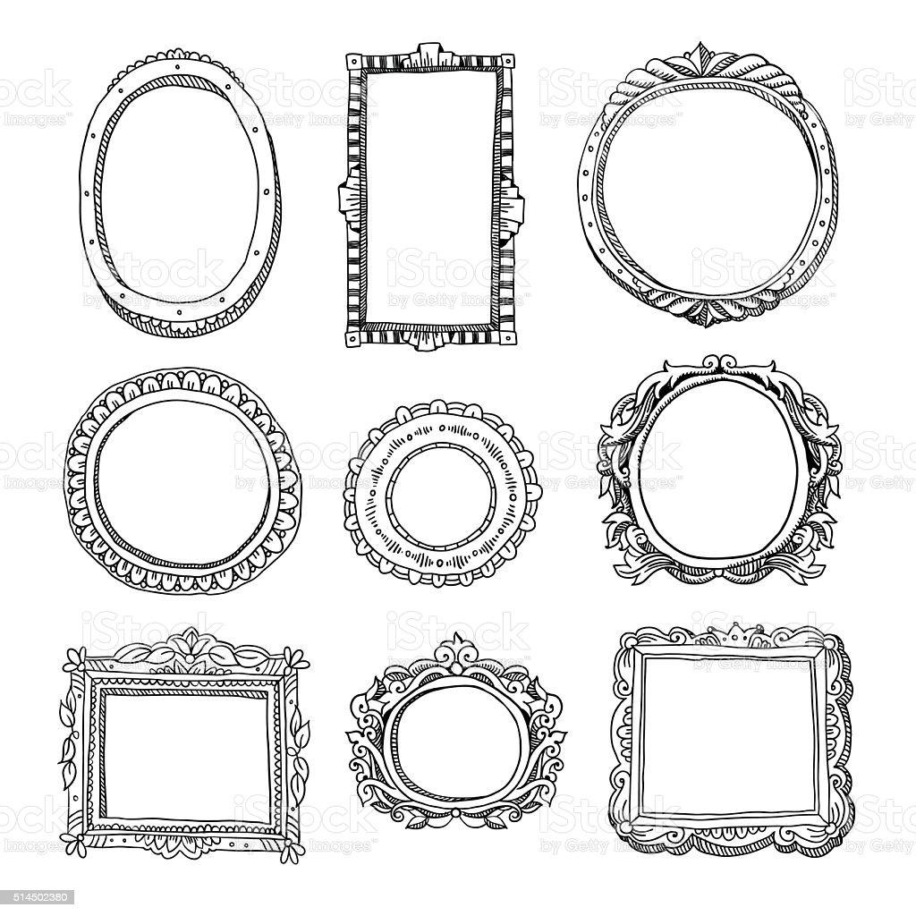 Vettoriale cornici disegnate a mano illustrazione - Cornici foto design ...