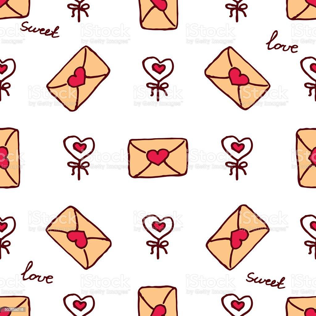 Vector handdrawn seamless pattern for Saint Valentine's day vector art illustration