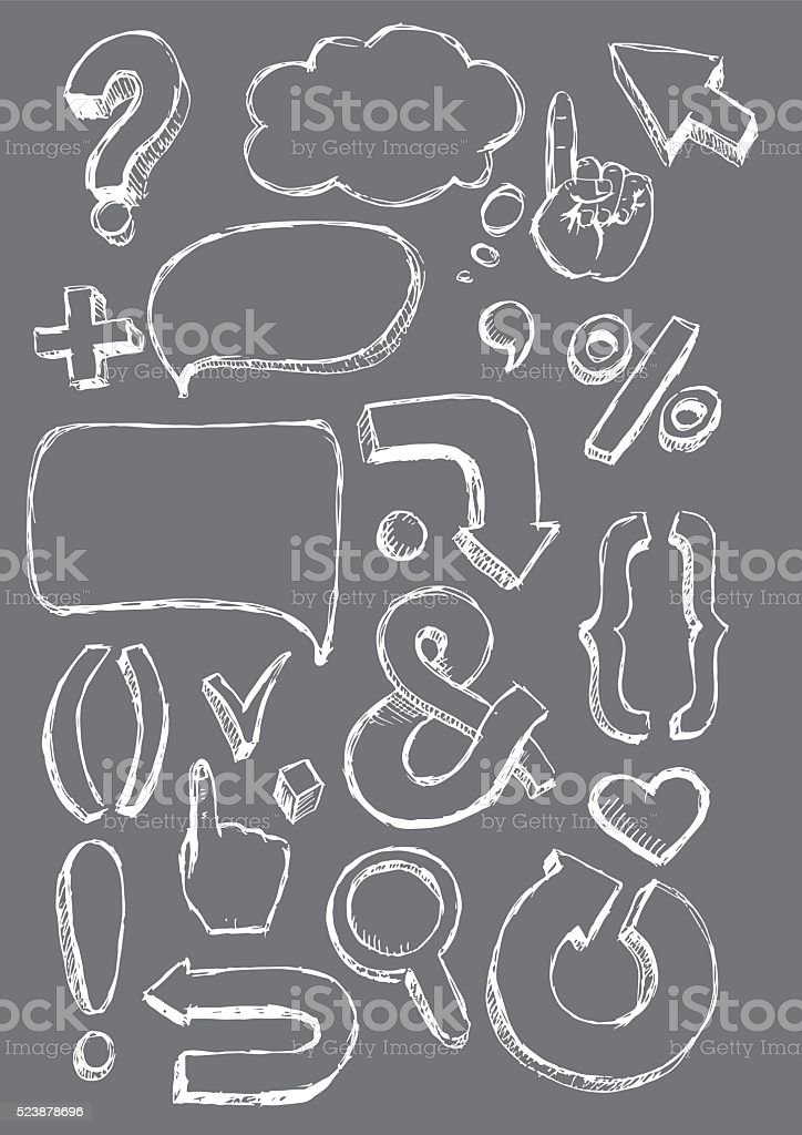 Vector hand-drawn signs vector art illustration
