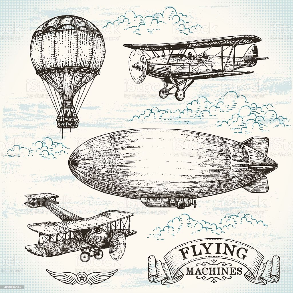 Vector hand-drawn vintage flying machines vector art illustration