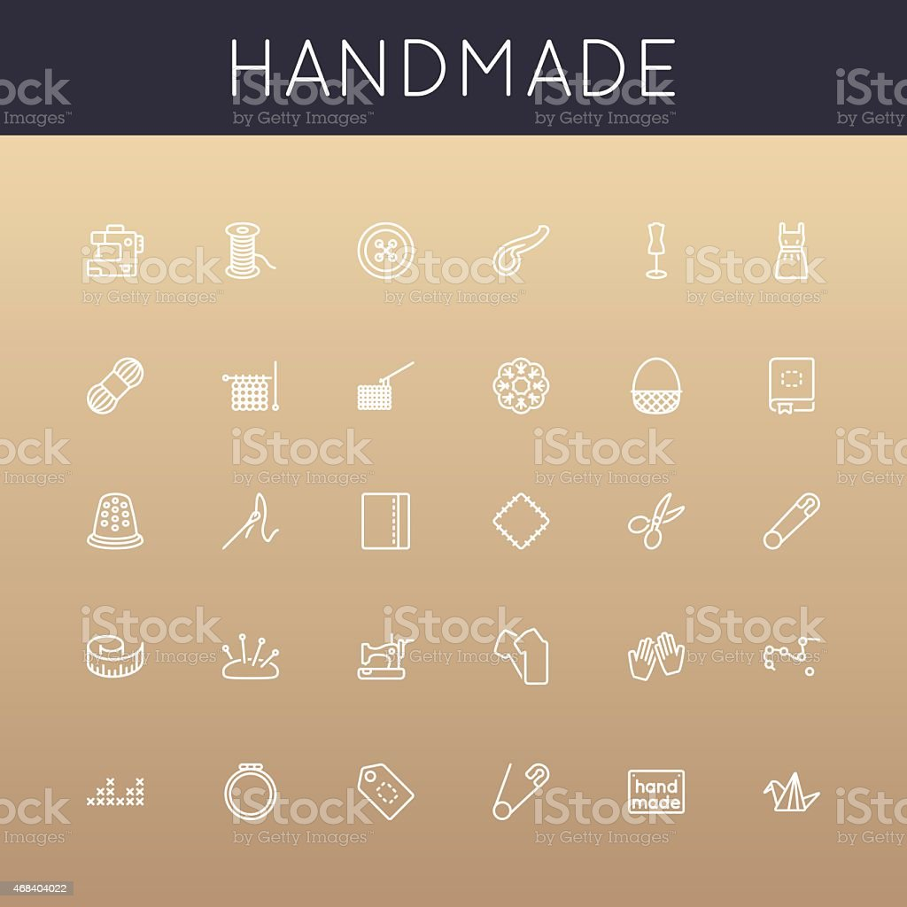 Vector Handmade Line Icons vector art illustration