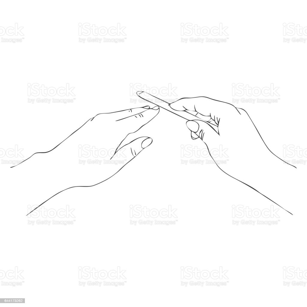 vector hands with nail file vector art illustration