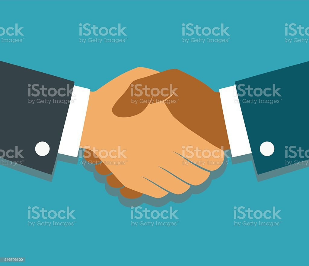 Vector handshake illustration. Background for business and finance. Flat style vector art illustration