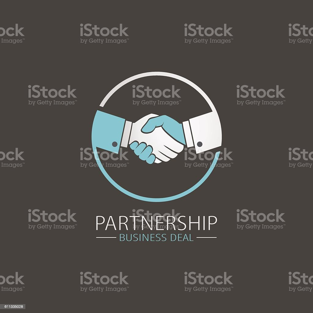 Vector handshake symbol. Business and finance icon vector art illustration