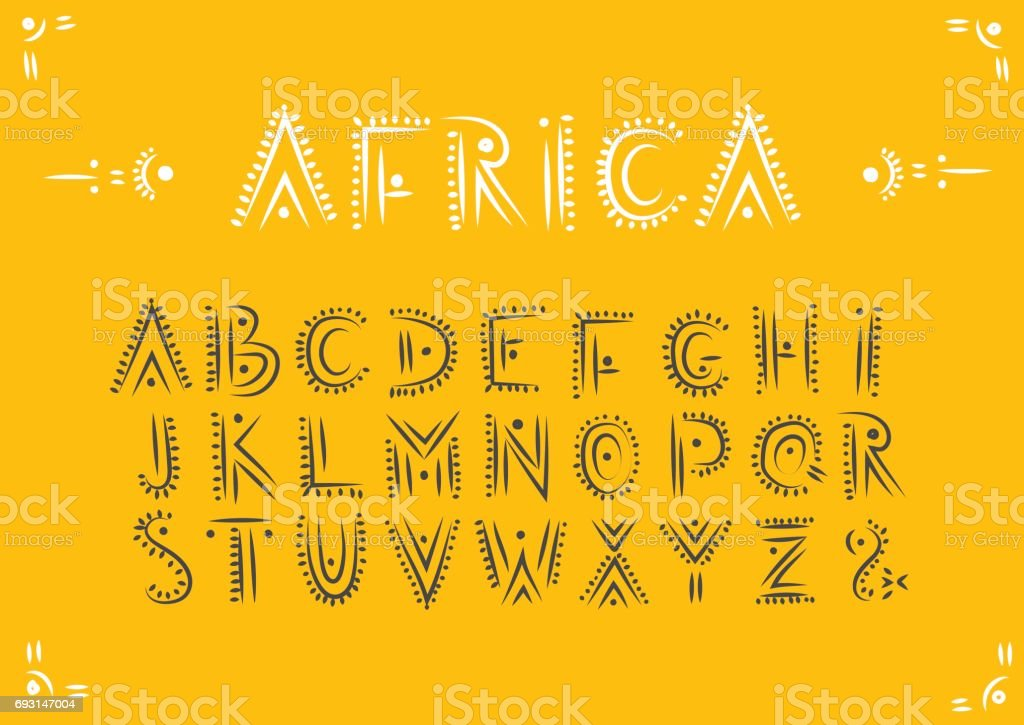 Vector handwritten alphabet in African ethnic style. vector art illustration