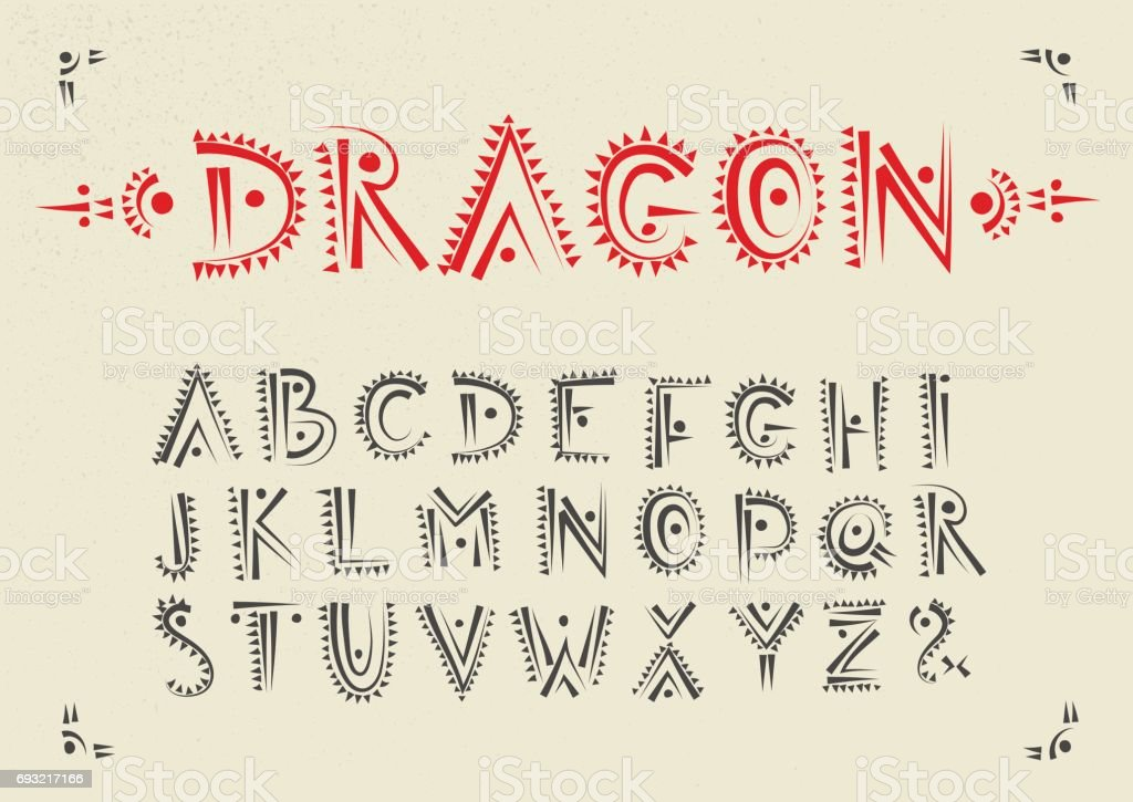 Vector handwritten alphabet with dragon patterns. vector art illustration
