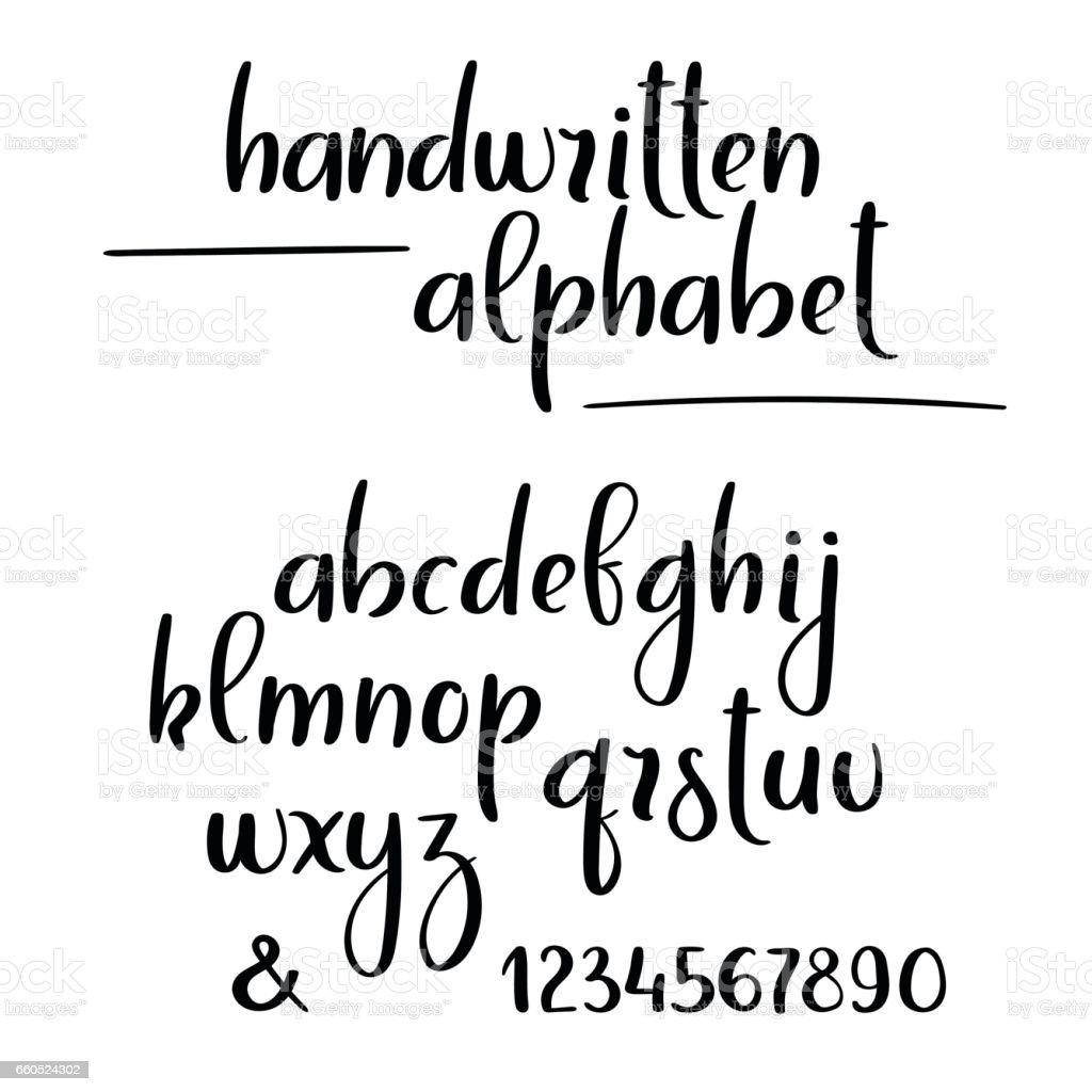 Vector handwritten brush alphabet. Hand lettering brushpen letters and numbers vector art illustration