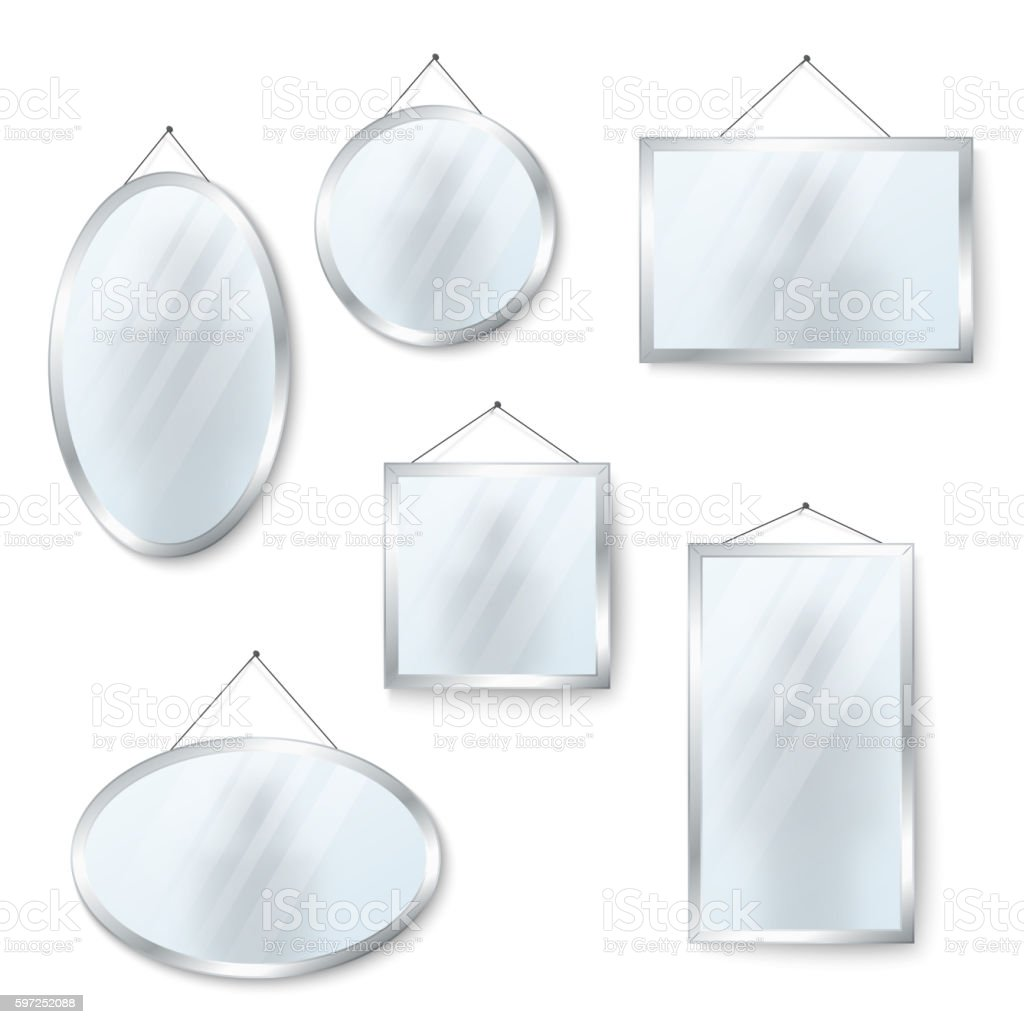Vector hanging mirrors isolated on white vector art illustration