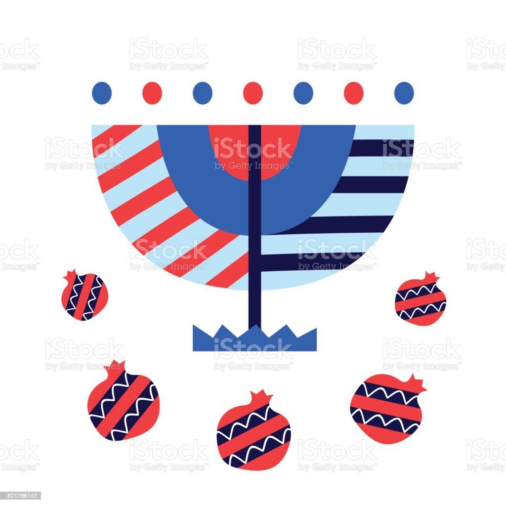 Vector Hanukkah Menorah and pomegranates icons, isolated on white vector art illustration