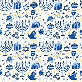 Vector Hanukkah seamless pattern