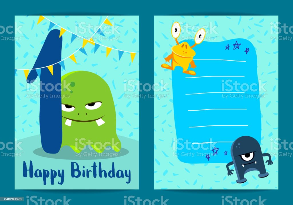 Vector happy birthday card with cute cartoon monsters, garland and age one vector art illustration