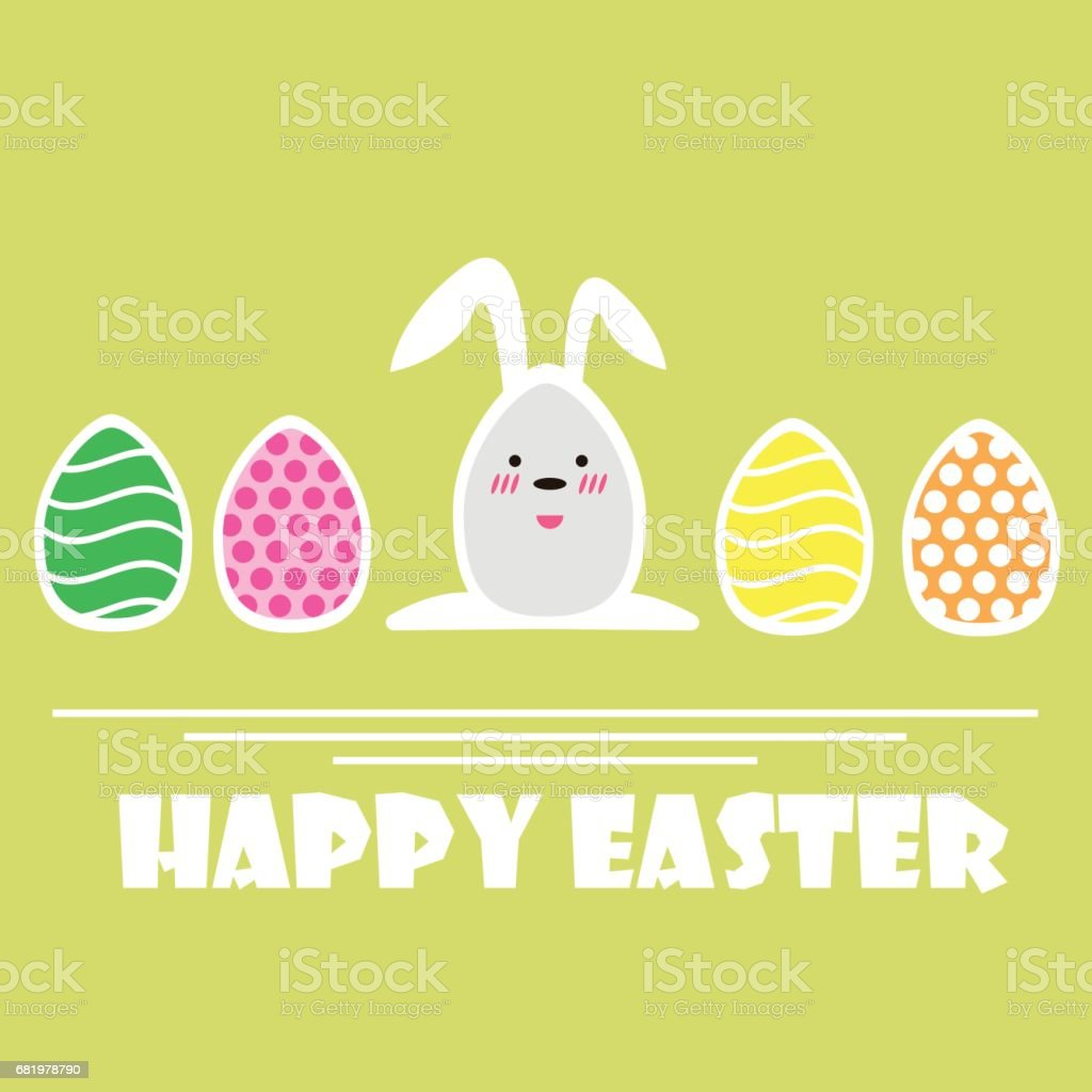 Vector Happy Easter greeting card. Easter Eggs vector art illustration