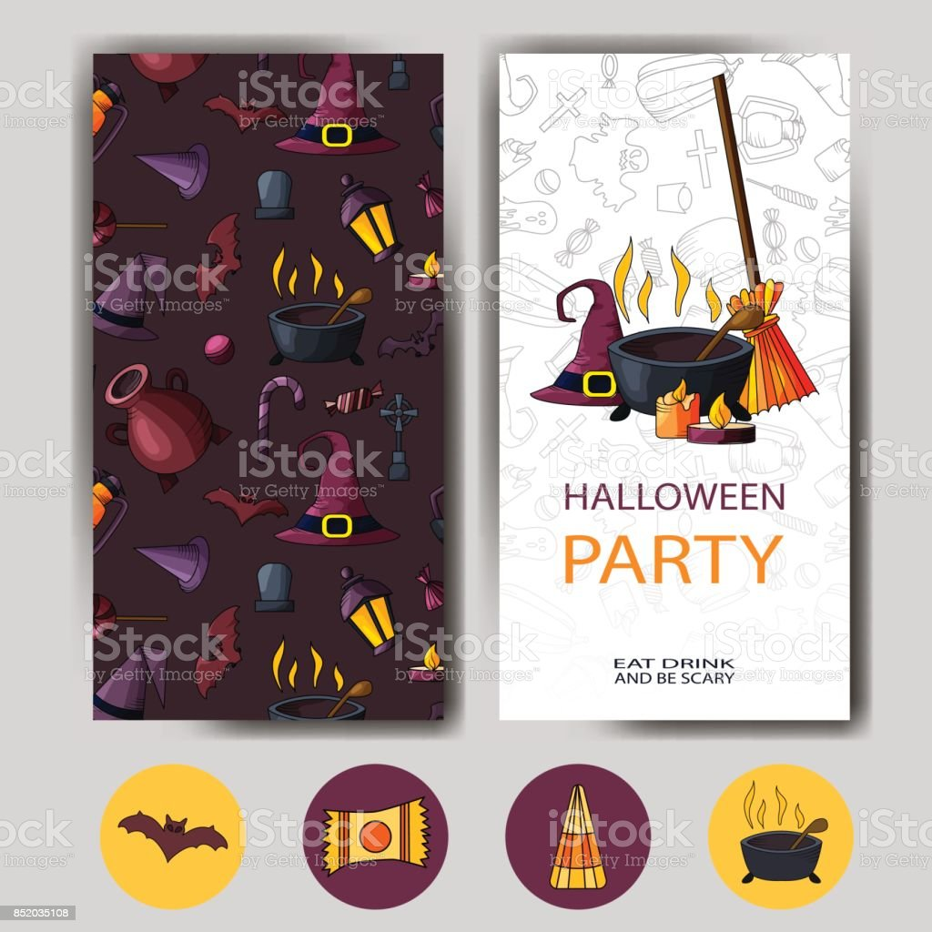 Vector Happy Halloween Card Design For Holiday Poster Party