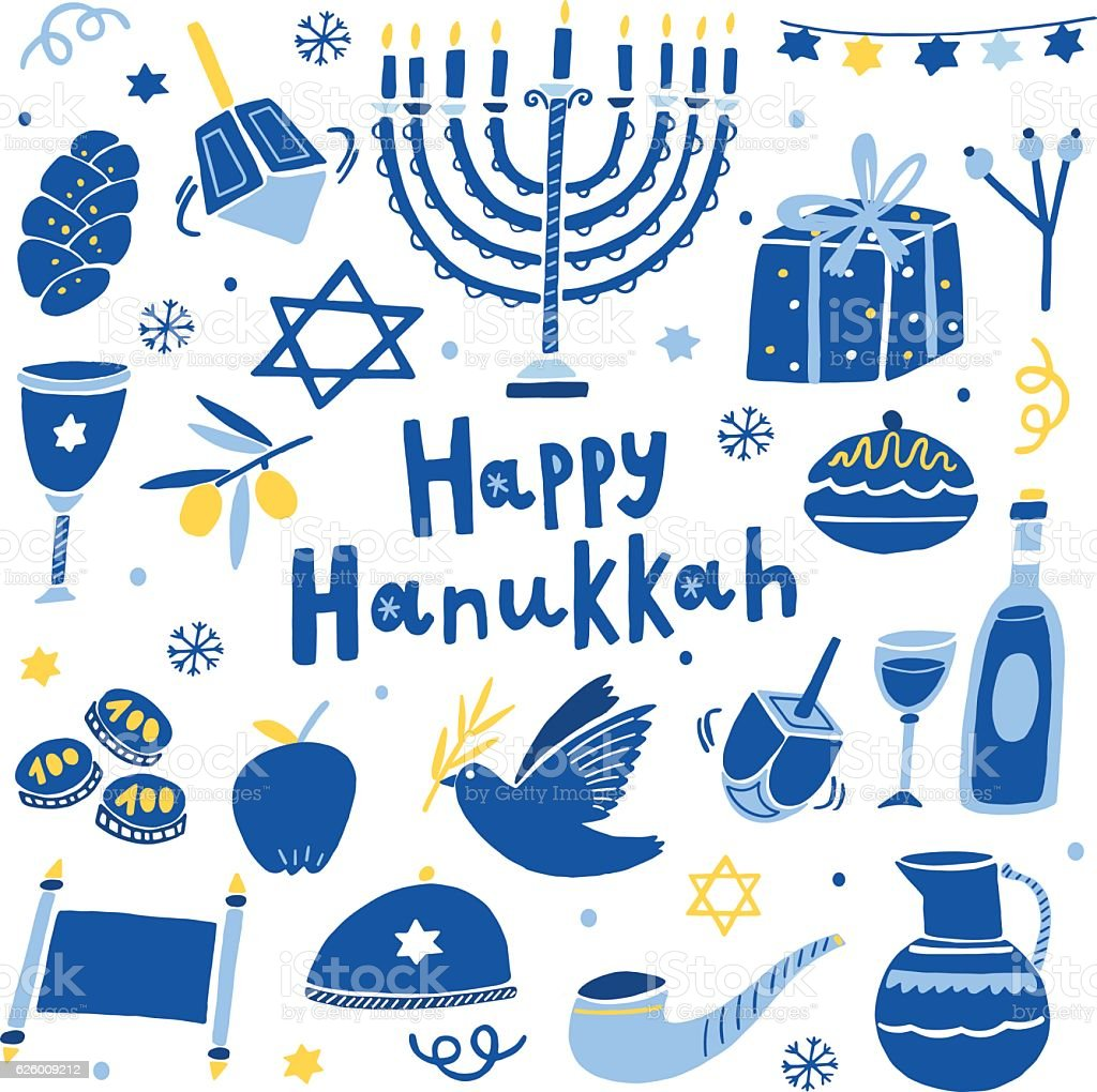 Vector happy Hanukkah icon set vector art illustration