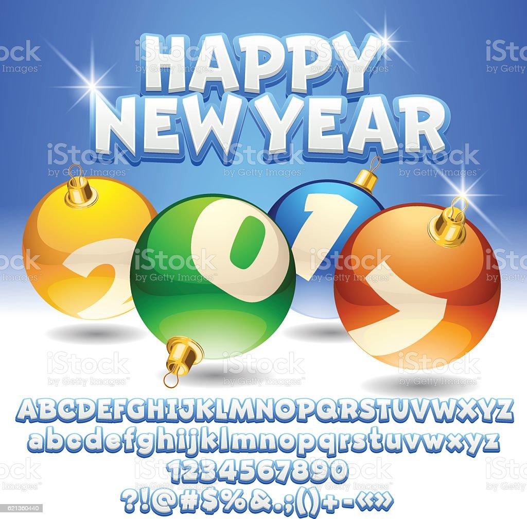 Vector Happy New Year 2017 Greeting Card Stock Vector Art 621360440