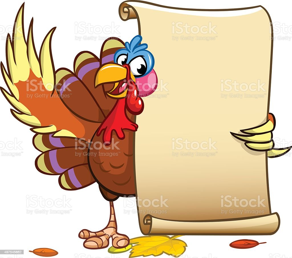 Vector happy Thanksgiving turkey with blank scroll vector art illustration