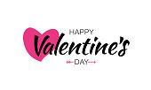 Vector Happy Valentines Day Lettering Card Background With Pink Heart.