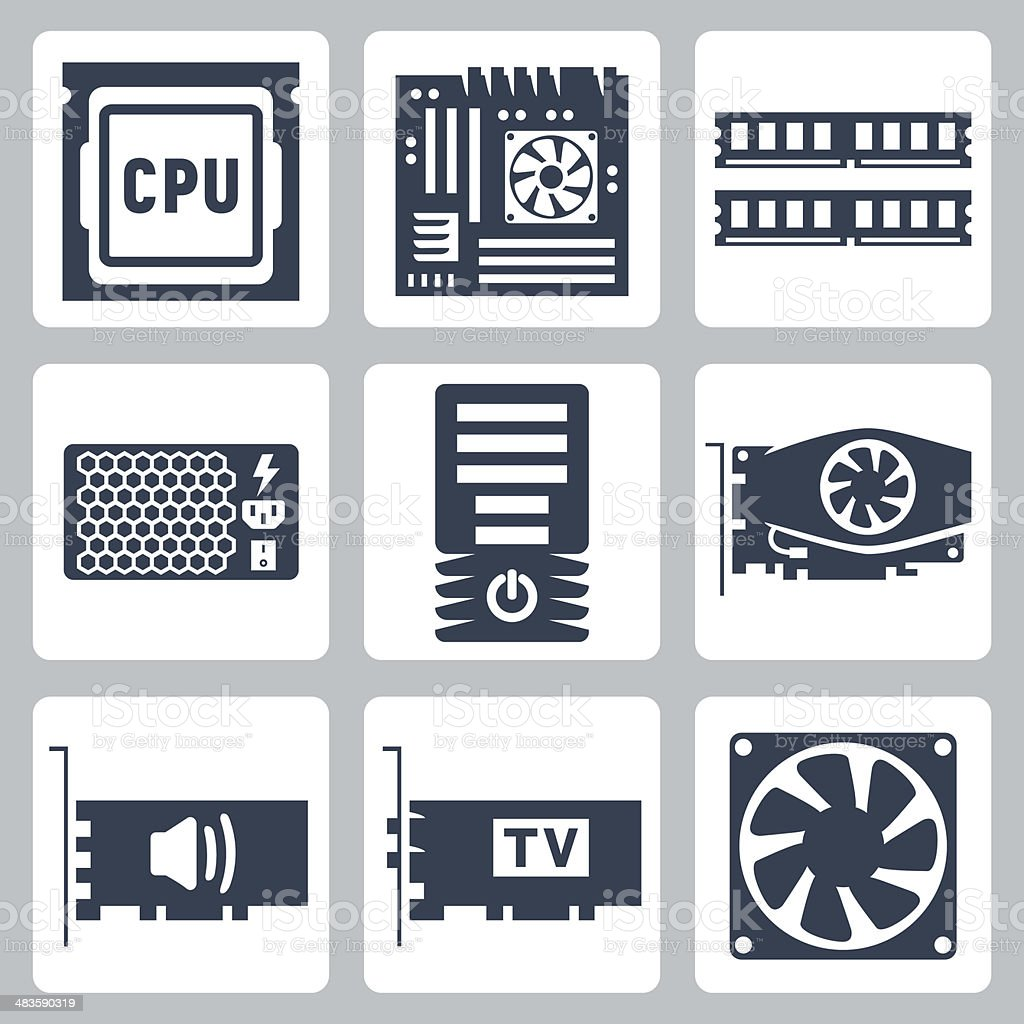 Vector hardware icons set vector art illustration