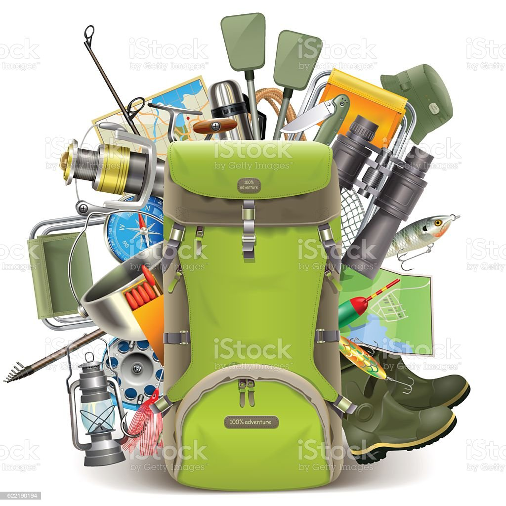 Vector Haversack with Fishing Tackle vector art illustration