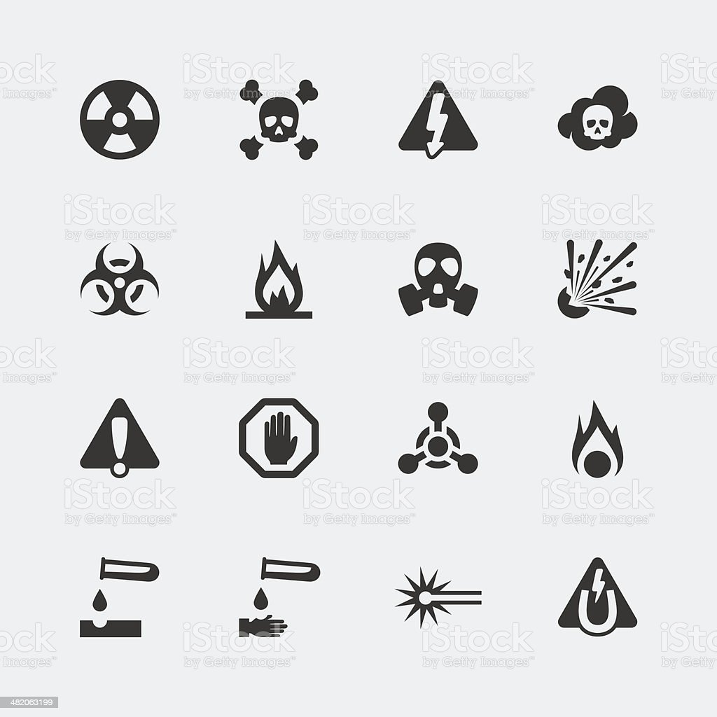 Vector hazard and danger mini icons set vector art illustration