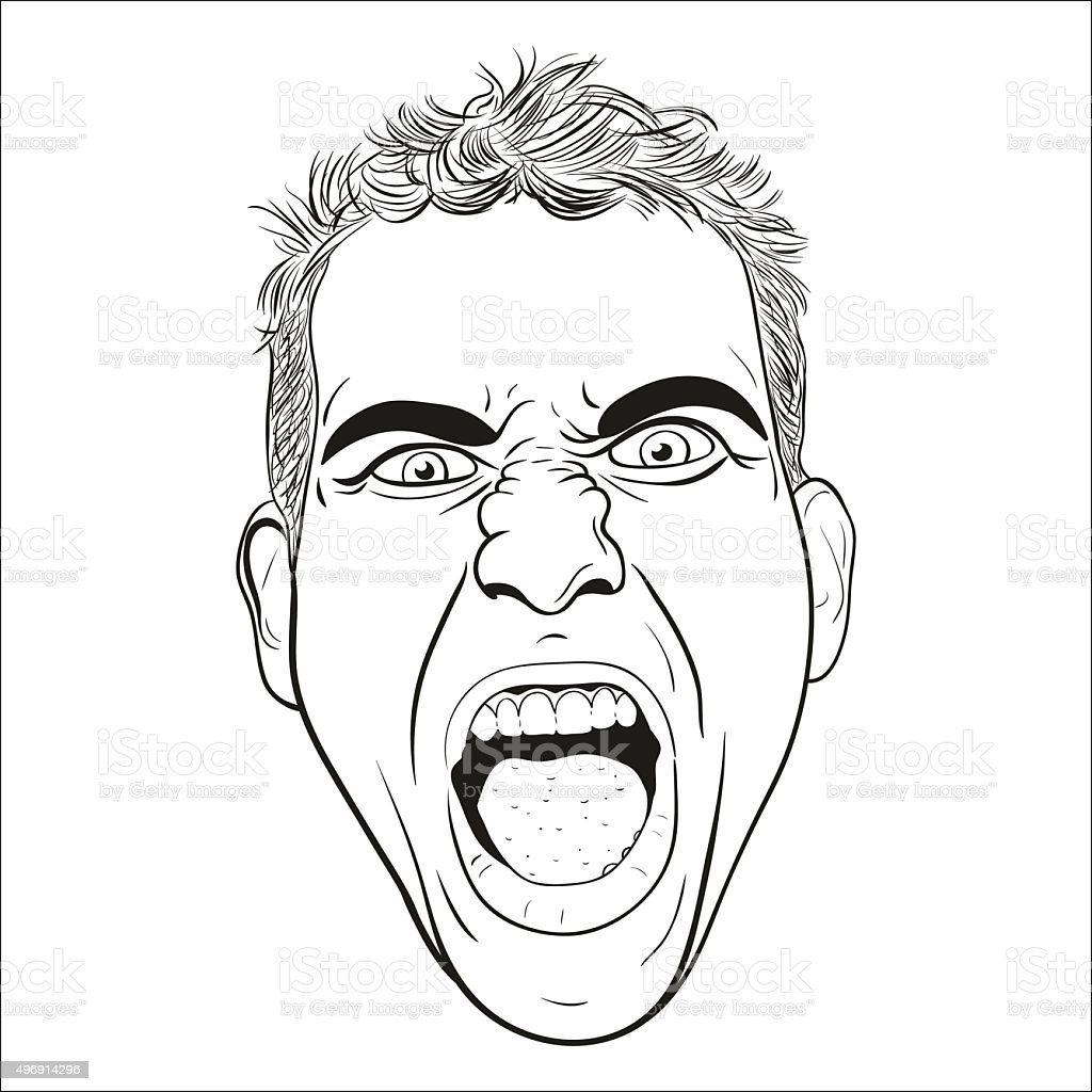 vector head of a screaming  young men. vector art illustration