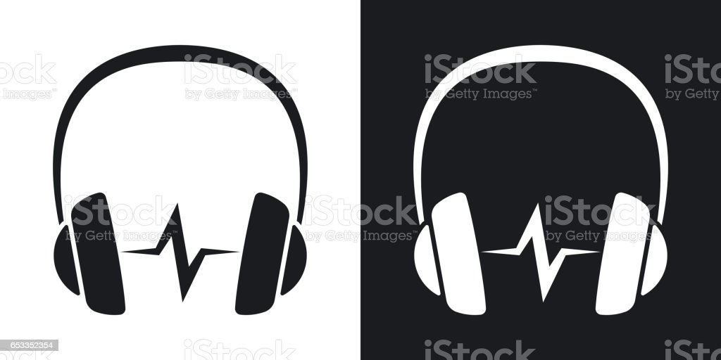 Vector headphones icon with sound wave. Two-tone version vector art illustration