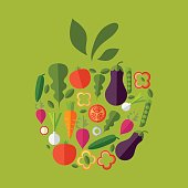 Vector healthy organic food labels for restaurants, cafe. Concep