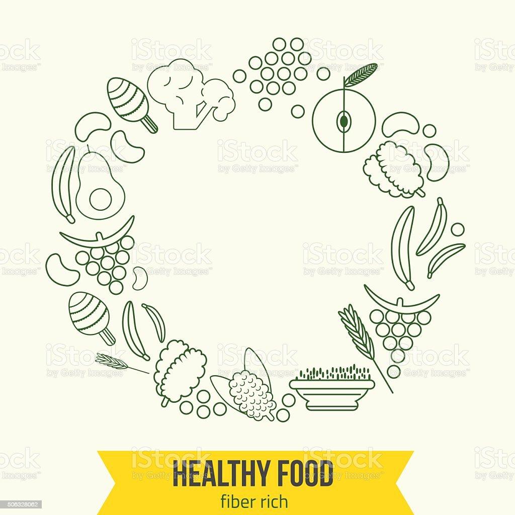 Vector  healthy rich fiber foods line icons wreath. EPS10 vector art illustration