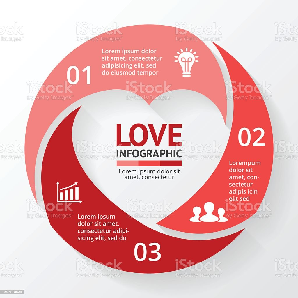 Vector heart circle infographic. Template for love cycle diagram, graph vector art illustration