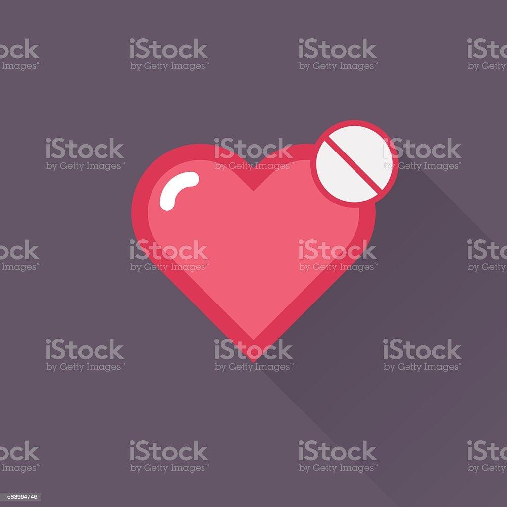 Vector Heart & conceptual icon vector art illustration