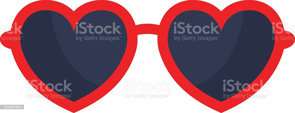 Vector heart glasses isolated on white background vector art illustration