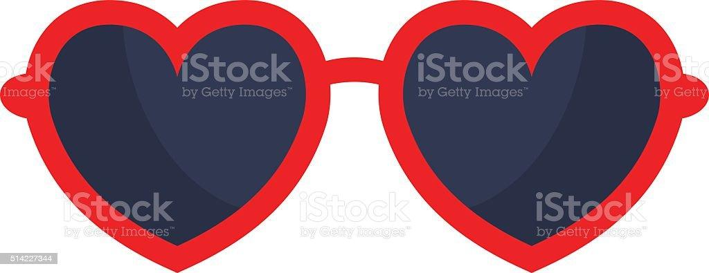 Vector heart glasses isolated on white background vector art illustration