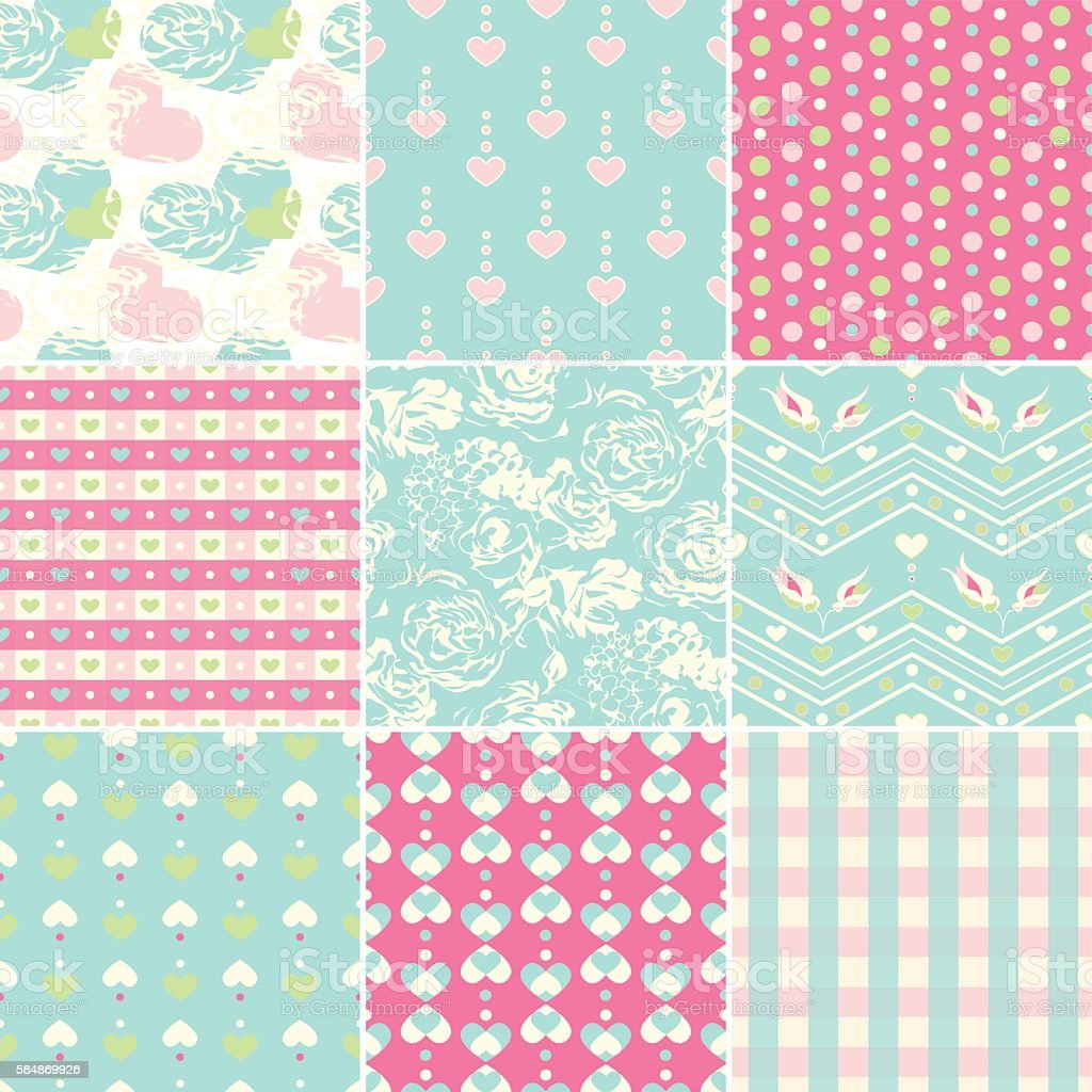 Vector heart seamless pattern with retro style vector art illustration