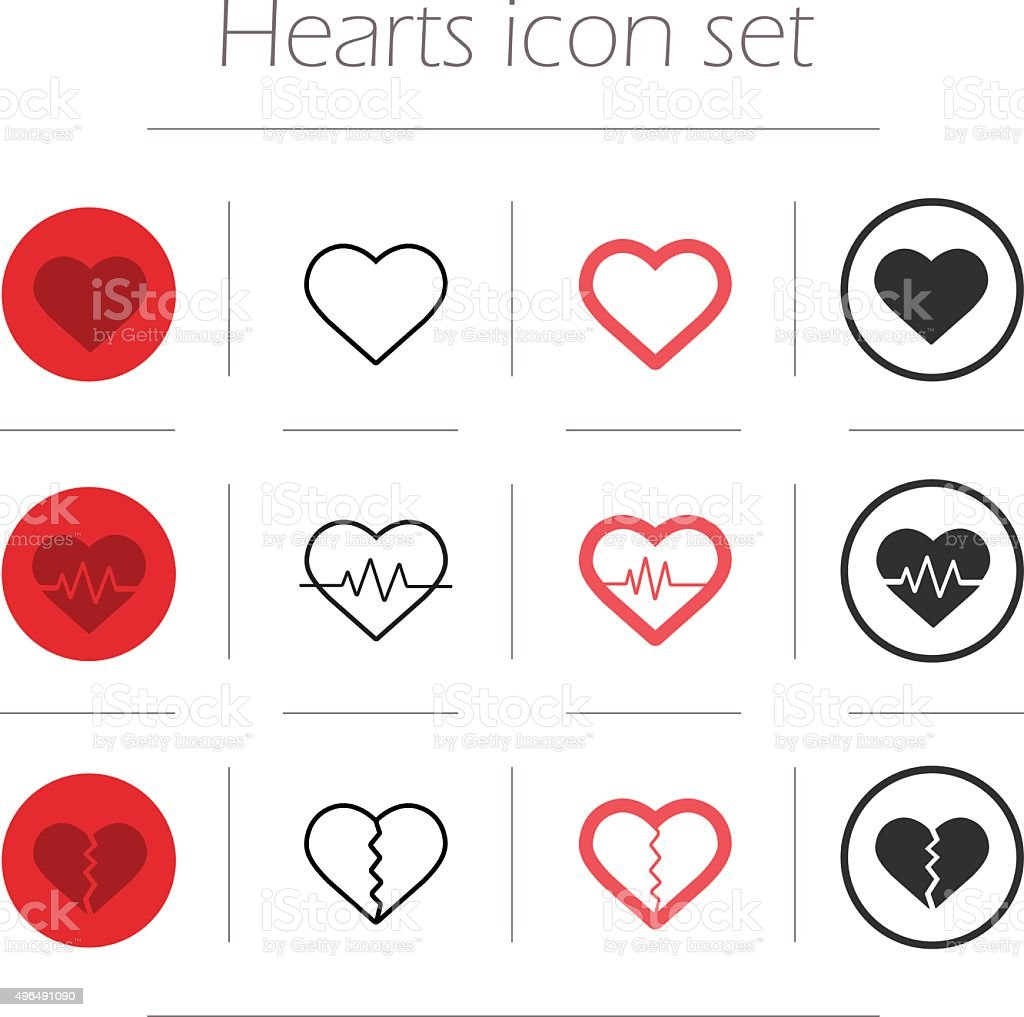 Vector hearts icon set vector art illustration