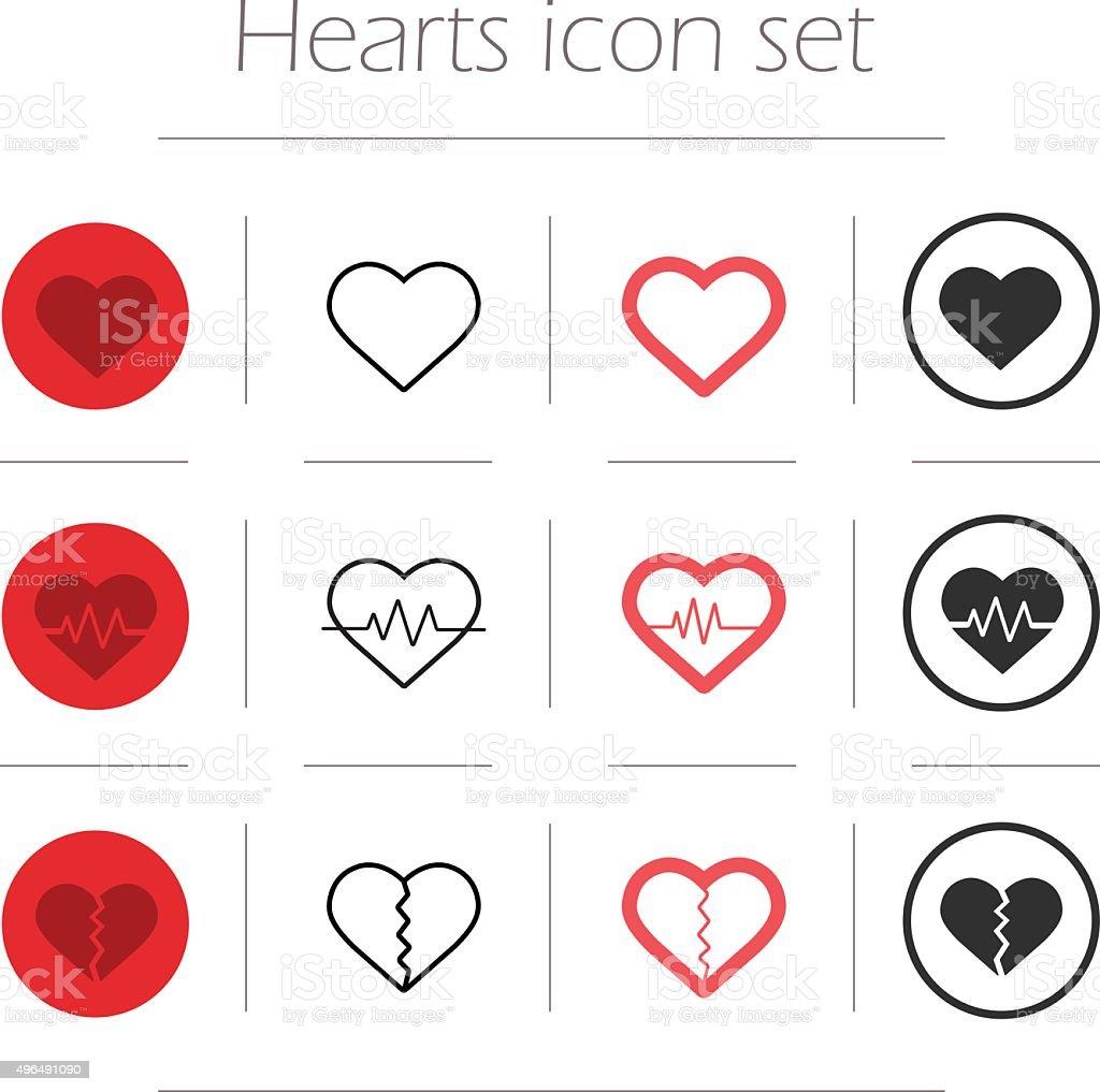 Vector hearts icon set vector art illustration