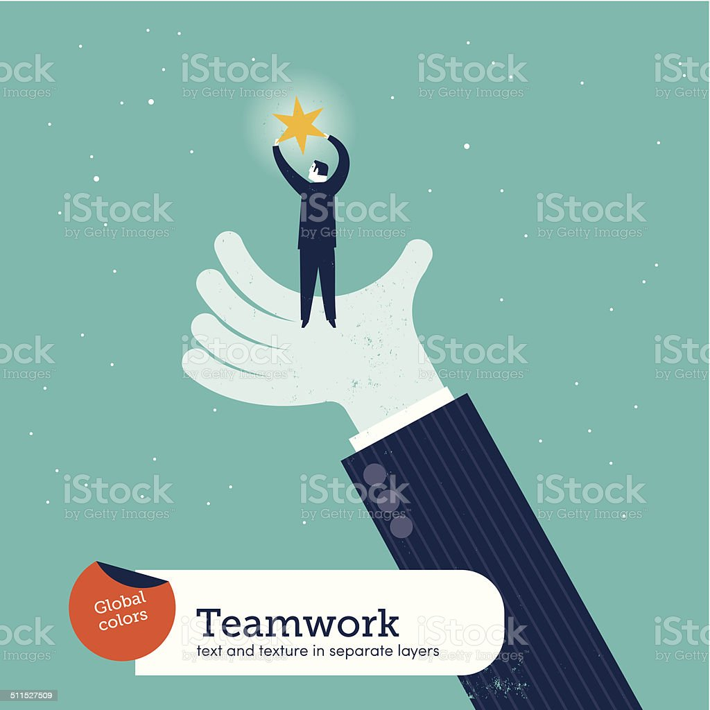 Vector helping hand with man and star vector art illustration