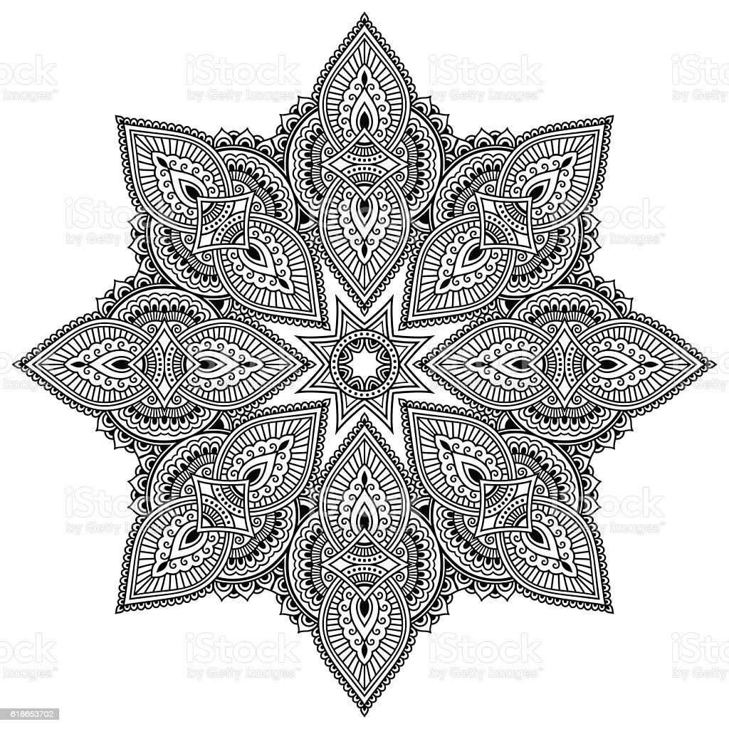 Coloring pages henna - Vector Henna Tatoo Mandala Mehndi Style Coloring Page Royalty Free Stock Vector
