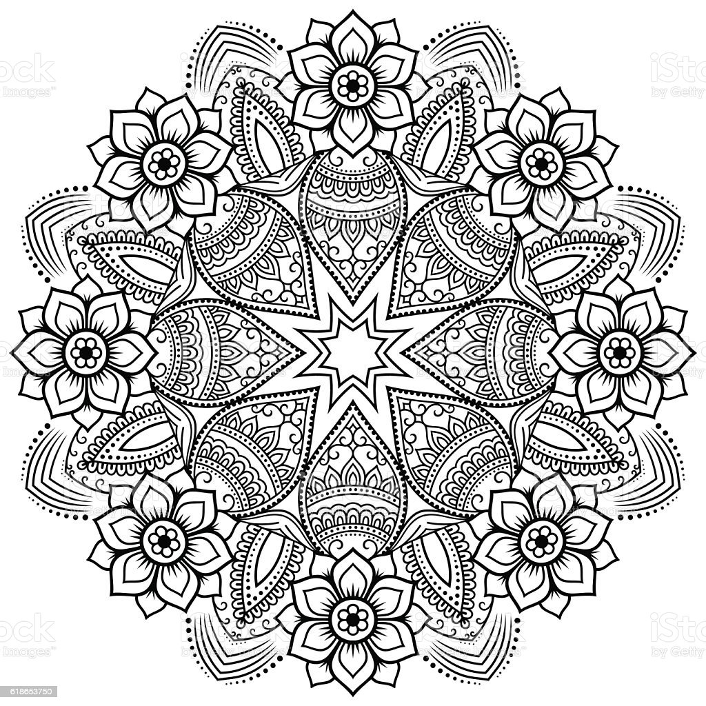 vector henna tatoo mandala mehndi style coloring page stock vector