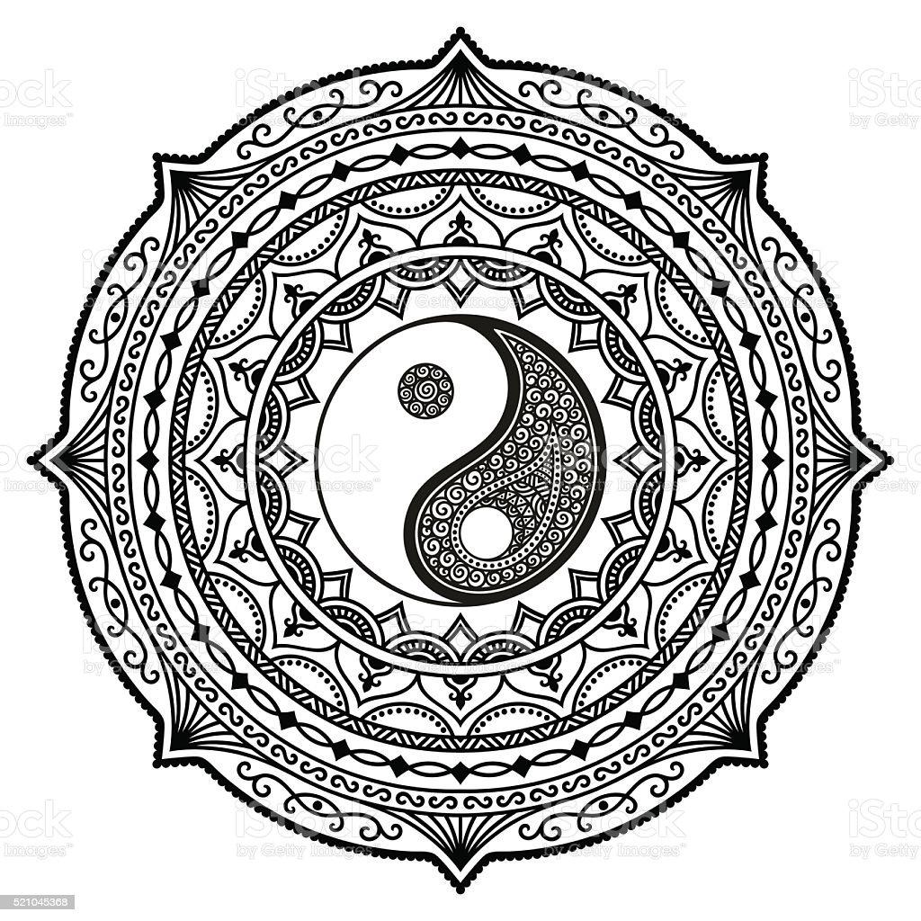 Vector henna tatoo mandala. Yin-yang decorative symbol. Mehndi style. vector art illustration