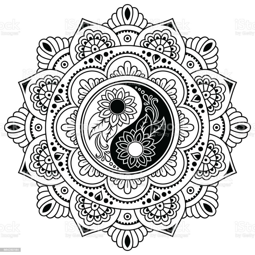 Coloring pages yin yang - Yin Yang Decorative Symbol Mehndi Style Decorative Pattern