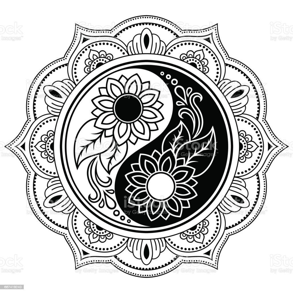 Coloring pages yin yang - Yin Yang Decorative Symbol Mehndi Style