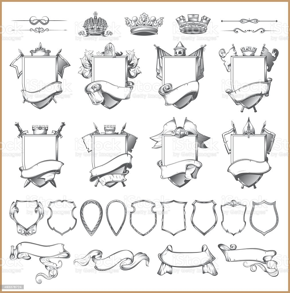 Vector heraldic element collection and Coat of arms template vector art illustration