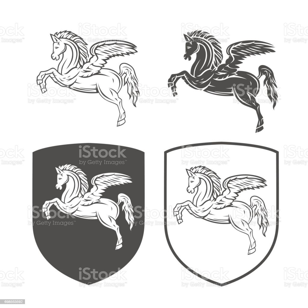 Vector heraldic shields with pegasus  on a white background. Coat of arms, heraldry, emblem, symbol design elements. vector art illustration
