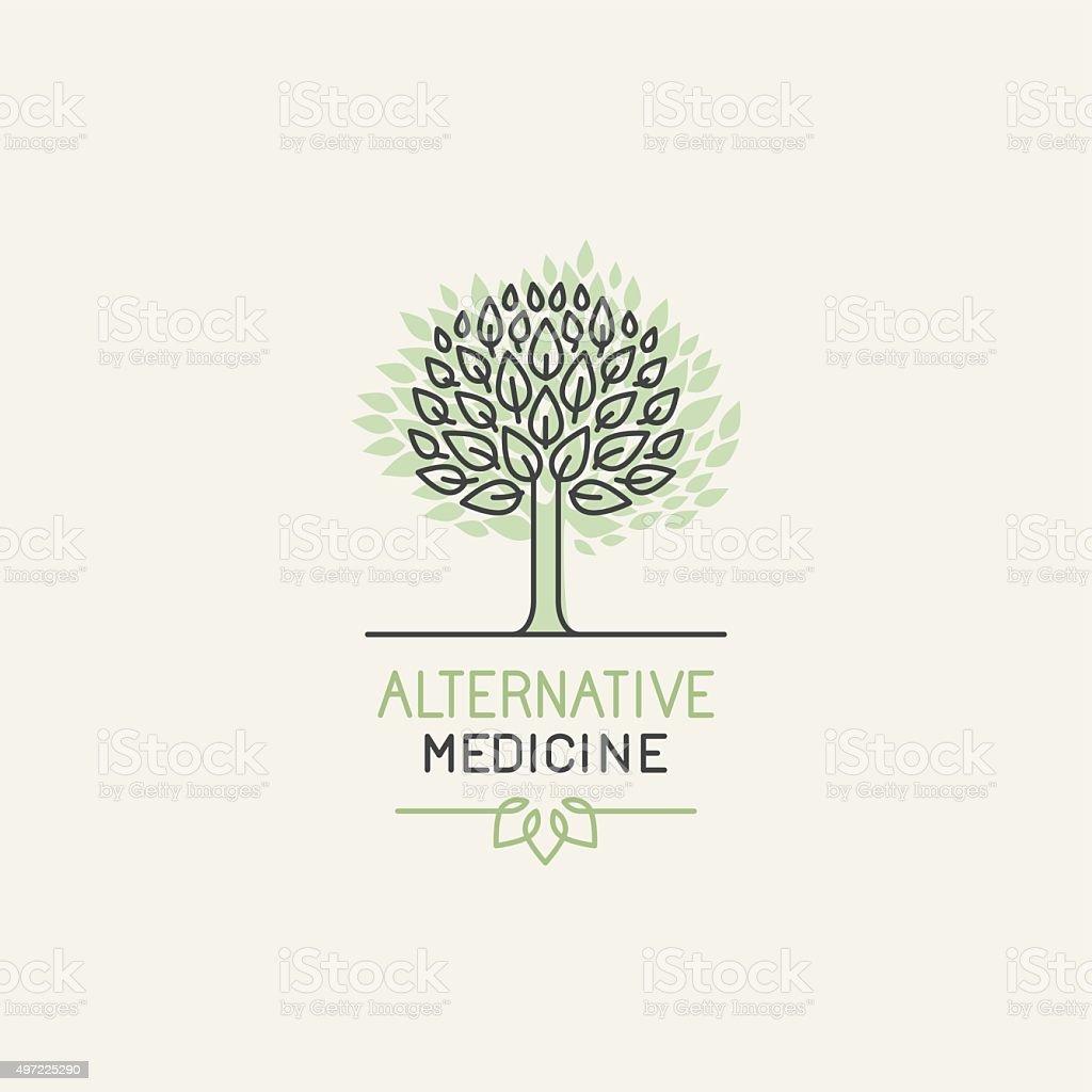 Vector herbal and alternative medicine logo design vector art illustration
