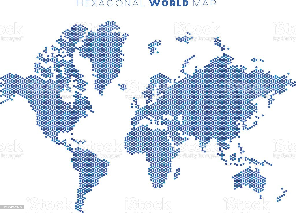 Vector hexagonal world map vector art illustration