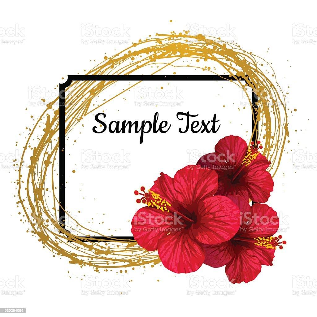 vector hibiscus flower invitation card のイラスト素材 585294694 istock