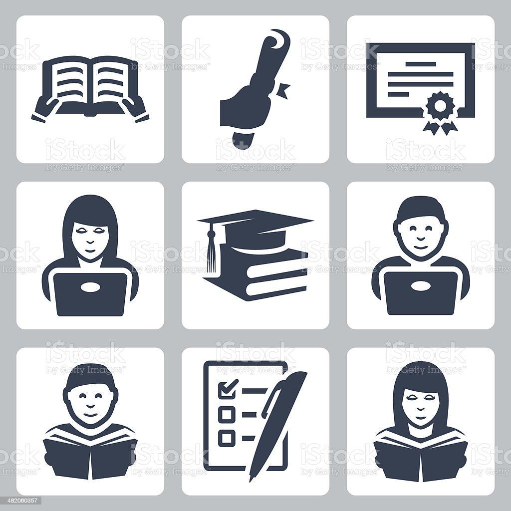 Vector higher education icons set vector art illustration