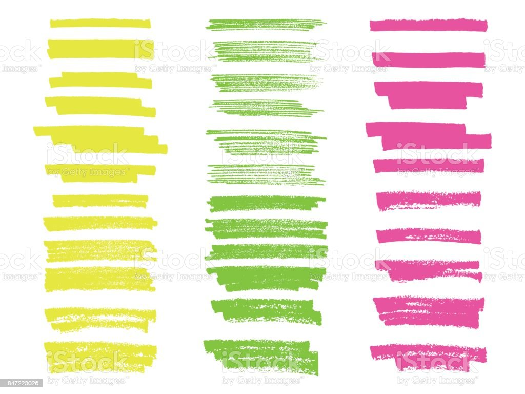 Vector highlighter brush lines. Hand drawing. Painting brushstroke. vector art illustration